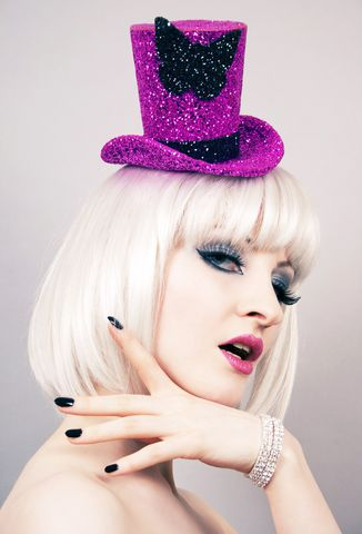 Burlesque,Top,Hat,,Butterfly,,You,Choice,of,Colour,Accessories,Hat,Women,top_hat,burlesque_hat,circus_top_hat,theatrical_hat,vintage_style,women,janinebasil,hot_pink,black_glitter,butterfly,hot_pink_top_hat,burlesque_top_hat,mini_top_hat,pink_glitter,buckram,elastic,wire