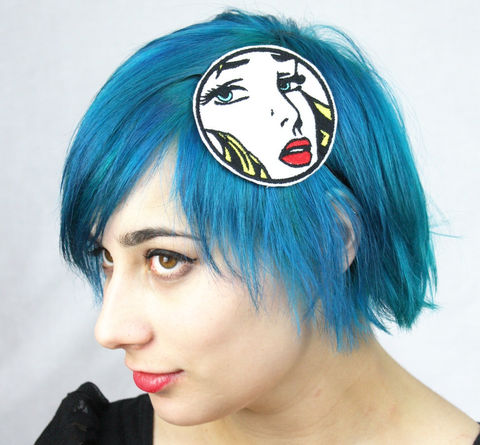 Lichtenstein,Inspired,Headband,,Blonde,,Comic,Book,Heroine,Accessories,Hair,Headband,yellow,lichtenstein,blonde,red_lips,comic,geek,face,janinebasil,pop_art,comic_book_headband,comic_book_heroine,face_headband,comic_inspired,polyester_felt,rayon_thread,elastic,rhinestones