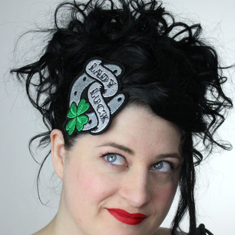 Tattoo,inspired,headband,Lady,Luck,horseshoe,and,four,leaf,clover,Accessories,Hair,women,janine_basil,janinebasil,uk,tattoo,retro,four_leaf_clover,lady_luck,shamrock,ttt,polyester_felt,rayon_thread,elastic