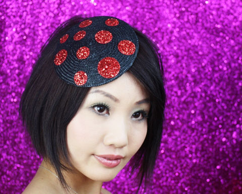 Glitter,Spots,Fascinator,,Various,Colours,Accessories,Hat,Women,fascinator,spots,glitter,black,alternative_bride,burlesque,fun,janinebasil,red,glitter_spots,spotty,polka_dot_hat,ruby_red,straw