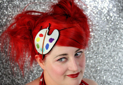 Artist,Palette,Headband,,Painters,Multi,Colour,Accessories,Hair,Headband,women,headband,janine_basil,adult_headband,artist_palette,painting,paintbrush,painters_headband,multi_colour,womens_headband,head_band,white_headband,bright_colour,polyester_felt,rayon_thread,elastic