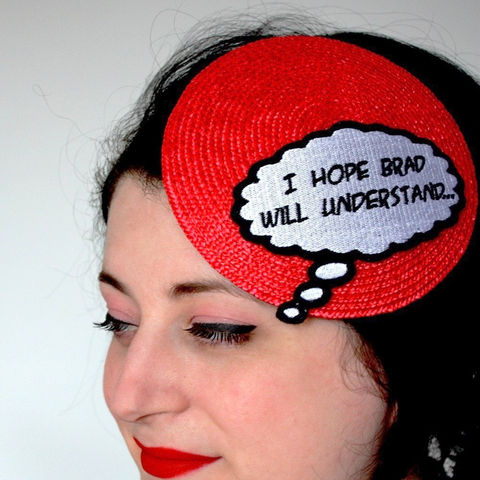 Comic,Inspired,Hat,I,Hope,Brad,Will,Understand,Red,White,and,Black,Accessories,Women,fascinator,burlesque,retro,pop_art,comic,geek,red,janinebasil,uk,wholesale,ttt,rayon_thread,felt,straw