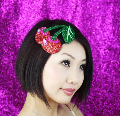 Cherries,Fascinator,Headband,,Rockabilly,Glitter,Cherry,Red,,Pink,and,Green,Accessories,Hair,Headband,fascinator,rockabilly,burlesque,glitter,shimmer,cherry_red,hot_pink,cute,kawaii,burlesque_fascinator,rockabilly_hat,Cherries_headband,Cherry_fascinator