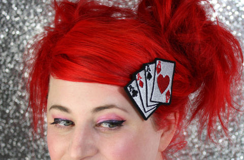 Playing,Cards,Hair,Clip,,Aces,,Rockabilly,Clip,Accessories,women,janine_basil,playing_cards,aces_hair_clip,playing_cards_clip,poker_hair_clip,barette,rockabilly_hair_clip,hearts,diamond,ace_of_spades,ace_of_hearts,under_25_dollars,polyester_felt,rayon_thread,elastic
