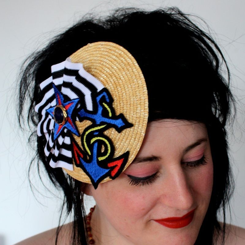 Vintage Hat Tattoos: Nautical Inspired Hat With Anchor Star And Rosette