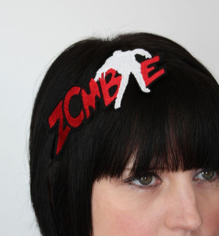 Zombie,Headband,,Red,&,White,,Living,Dead,Accessories,Hair,Headband,zombie,blood_red,white,halloween,walking_dead,costume,janinebasil,uk,living_dead,zombie_headband,zombies,brains,headband_zombies,rayon_thread,felt,elastic