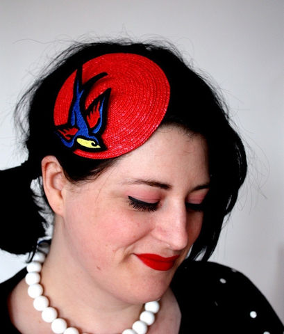 Retro,Rockabilly,Fascinator,,Red,,Sparrow,,Sailor,Jerry,Fascinator,Accessories,Hat,Women,fascinator,retro,scarlet_red,canery_yellow,royal_blue,sparrow,janinebasil,rockabilly_hat,bird_fascinator,small_fascinator,red_fascinator,sailor_jerry,rockabilly,rayon_thread,felt,glitter