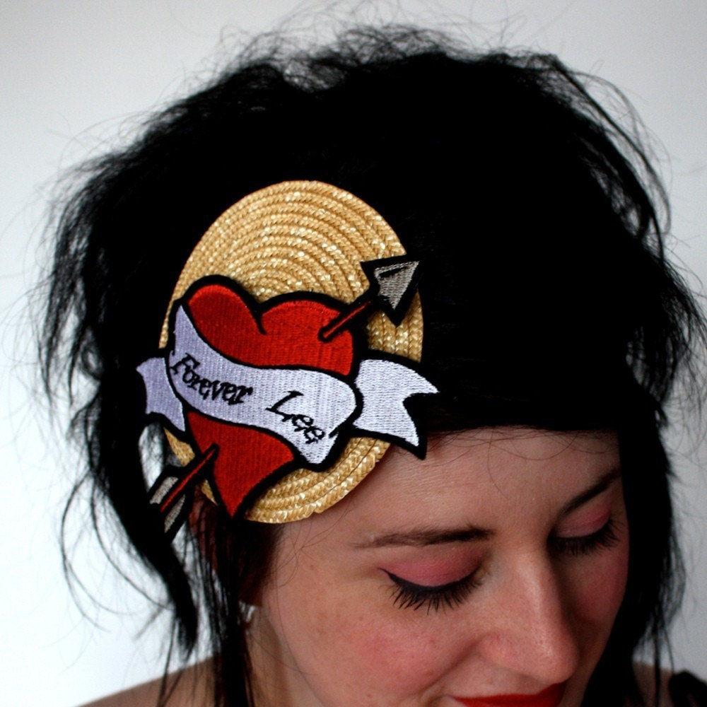 Vintage Hat Tattoos: Personalized Tattoo Heart Fascinator True Love Hat, Custom