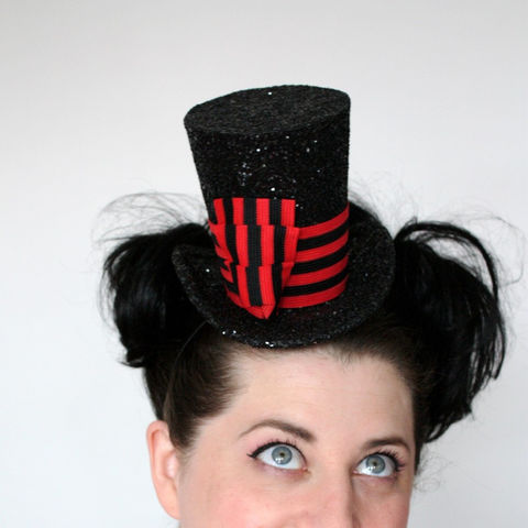 Mini,Top,Hat,,Black,Glitter,with,Red,and,Band,,Burlesque,,As,seen,in,Curve,Magazine,Accessories,Hat,top_hat,burlesque_hat,theatrical_hat,women,janinebasil,uk,wholesale,black_glitter,millitary_top_hat,red_black_stripe,stripes,band,burlesque,pink_glitter,buckram,elastic,wire