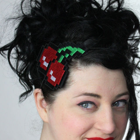 Pixelated,Cherries,Headband,,Retro,Gaming,Inspired,Accessories,Hair,Headband,women,headpiece,fun_and_funky,janinebasil,uk,wholesale,ruby_red,retro_gaming,geek,ttt,cherries,polyester_felt,rayon_thread,elastic