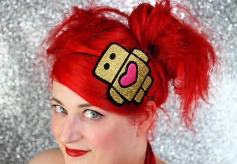 Metallic,Robot,Headband,,Various,Colours,Accessories,Hair,Headband,comic,janinebasil,metallic_gold,shimmer,metallic_headband,pink,shocking_pink,robot_headband,love_bot,heart,cute_headband,cute_robot,polyester_felt,rayon_thread,elastic
