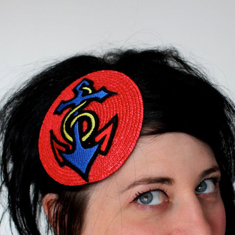 Nautical,Fascinator,,Rockabilly,Anchor,Retro,Inspired,Accessories,Hat,nautical,headpiece,fascinator,anchor,sailor,vintage_inspired,janinebasil,red,Nautical_fascinator,Anchor_fascinator,Retro_inspired,Rockabilly_hat,rayon_thread,felt,vintage_button,ribbon