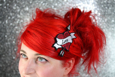 Love,Heart,Hair,Clip,,Cupid,Heart,,Arrow,and,Banner,Tattoo,Style,Hairclip,Accessories,Clip,women,janine_basil,hair_clip,barette,hair_barrette,cute_barrette,heart,tattoo_heart,heart_hair_clip,heart_barrette,cupids_heart,arrow,cupids_heart_clip,polyester_felt,rayon_thread,elastic