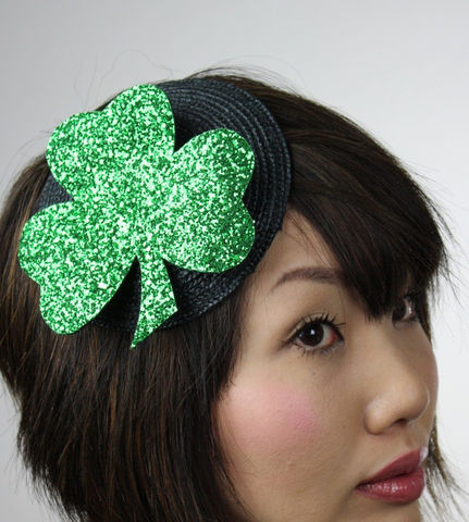 Shamrock,Hat,burlesque,fascinator,green,glitter,Holidays,St_Patricks,hat,shamrock,irish,fun,sparkle,black,janinebasil,indiejteam,uk,buckram,wire,glitter_fabric,felt