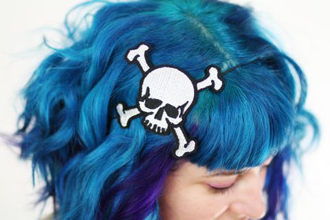 Skull,&,Cross,Bones,Headband,,White,and,Black,,Accessories,Hair,Headband,women,headband,janine_basil,skull,cross_bones,pirate,rockabilly,skull_headband,pirate_bones,pirate_headband,skull_and_cross_bone,tattoo_inspired,white_headband,polyester_felt,rayon_thread,elastic