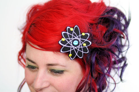 Atom,Hair,Clip,,Boron,,Science,Geek,Barrette,Accessories,Clip,women,janine_basil,hair_clip,barrette,red,white,hair_barrette,green,science_geek,geek_barrette,atom,atomic,boron,polyester_felt,rayon_thread,elastic