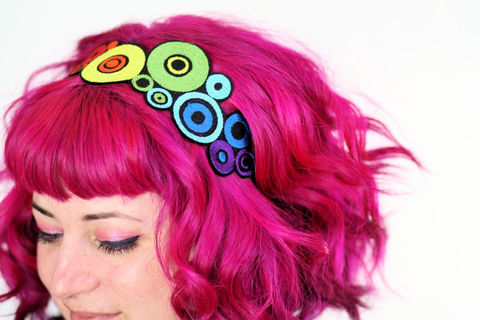 Rainbow,Circles,Headband,,Pop,Art,Inspired,headband, adult headband, pride, rainbow, hair accessories, embroidered