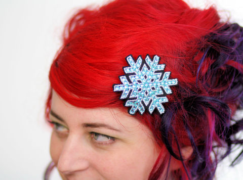 Snowflake,Hair,Clip,,Christmas,Barrette,,Various,Colours,Accessories,Clip,women,hair_barrette,christmas_hair_clip,hairclip,christmas_barrette,snowflake,snow,rhinestones,sparkly_hair_clip,snowflake_hair_clip,hot_pink,white,janinebasil,polyester_felt,rayon_thread,elastic