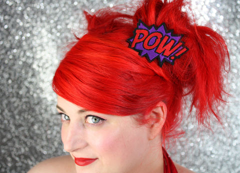 POW,Hair,Clip,,Comic,Book,Barrette,,Various,Colours,Accessories,Clip,women,janine_basil,hair_clip,barette,adult,comic_book,comic_hair_clip,comic_sound_effects,pow,pow_hair_clip,pow_barrette,red,under_25_dollars,polyester_felt,rayon_thread,elastic