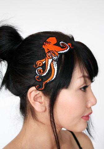 Octopus,Embroidered,Headband,,Various,Colours,Accessories,Hair,Headband,women,headband,octopus,sea_monster,fantasy,cute,janine_basil,janinebasil,uk,wholesale,teal,ttt,polyester_felt,rayon_thread,elastic