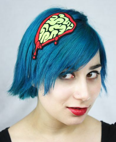 Brains,Headband,,Exposed,Zombie,Brains,,Green,or,Pink,Accessories,Hair,Headband,halloween,headband,zombie,brains,blood,guts,shocking_pink,blood_red,janinebasil,Brains_headband,Zombie_headband,Gore,exposed_brains,polyester_felt,rayon_thread,elastic