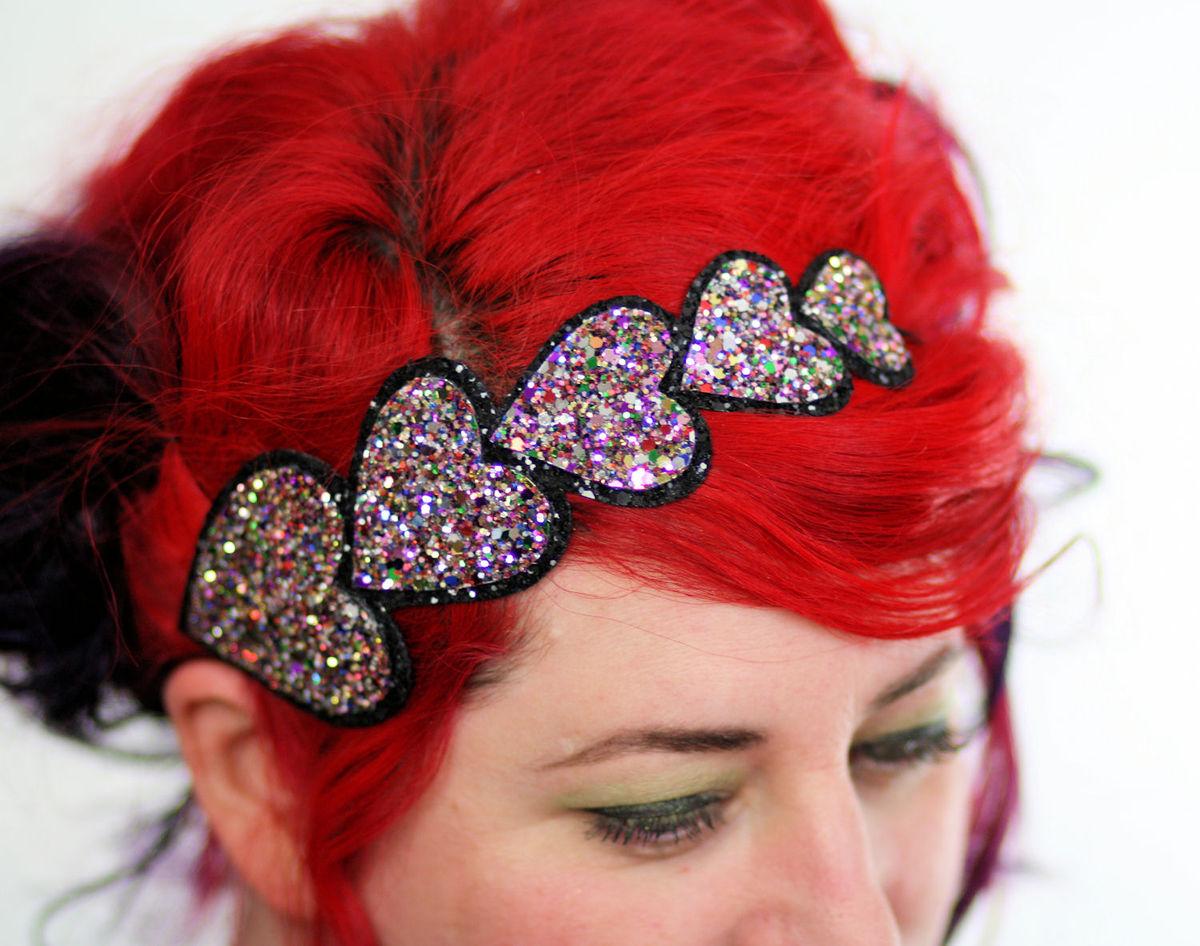 valentine heart headband glitter various colours janine