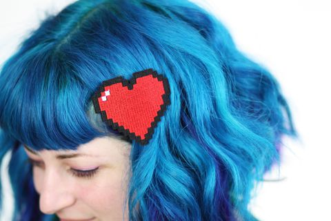 Pixel,Heart,Hair,Clip,,Retro,Gaming,Barrette,,Various,Colours,Accessories,Clip,women,janine_basil,hair_clip,barette,hair_barrette,cute_barrette,white,red,retro_gaming,pixel_heart,8_bit,heart_hair_clip,pixelated,polyester_felt,rayon_thread,elastic