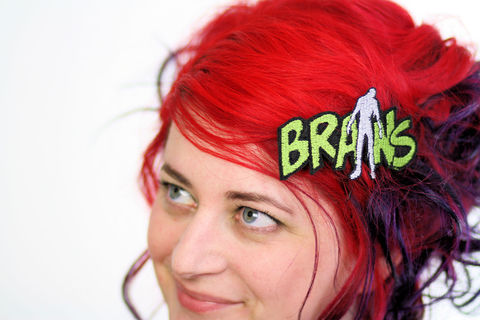 Brains,Hair,Clip,,Zombie,Brains,,Red,or,Green,Accessories,Clip,women,janine_basil,hair_clip,barrette,red,red_hair_clip,zombie_brains,brains_hair_clip,white,the_walking_dead,zombie_hair_clip,zombie_barrette,hair_barrette,polyester_felt,rayon_thread,elastic