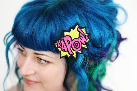 KAPOW,Hair,Clip,,Comic,Book,Barrette,Accessories,Clip,women,janine_basil,hair_clip,barette,adult,comic_book,comic_hair_clip,comic_sound_effects,yellow,kapow,kapow_hair_clip,hot_pink,cute,polyester_felt,rayon_thread,elastic