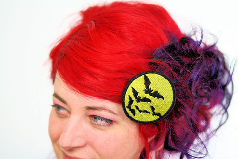 Bat,Hair,Clip,,Halloween,Barrette,,Yellow,Accessories,Clip,women,janine_basil,hair_clip,barette,hair_barrette,cute_barrette,halloween,halloween_hair_clip,halloween_barrette,orange,bats,bat_hair_clip,bat_barrette,polyester_felt,rayon_thread,elastic
