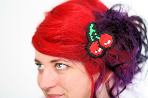 Pixel,Cherries,Hair,Clip,,Gaming,Barrette,,Retro,Gamers,,Red,,Green,and,White,Accessories,Clip,women,janine_basil,hair_clip,barrette,retro_gaming,gamer_hair_clip,pixel_cherries,cherries_hair_clip,geeky_hair_clip,geek_barrette,adult_hair_clip,retro_hair_clip,8_bit_hair_clip,polyester_felt,rayon_thread,elastic