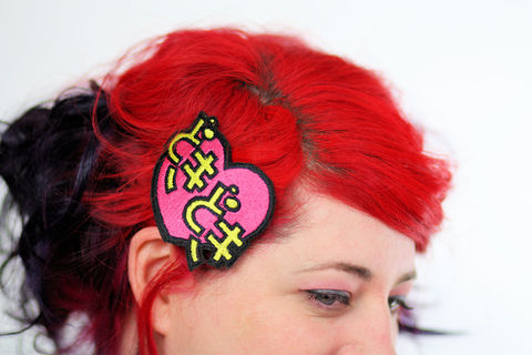 Doki,Hair,Clip,,Heart,Beat,,Japanese,Kanji,Barrette,Accessories,Clip,women,janine_basil,cute,hair_clip,hot_pink,bright_pink,japanese_kawaii,kawaii_hair_clip,barrette,doki_doki_hair_clip,japanese_kanji,heart_beat,heart_hair_clip,polyester_felt,rayon_thread,elastic
