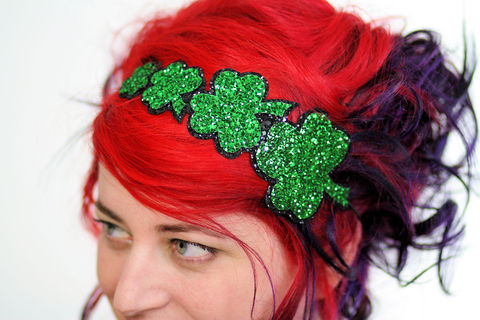 St,Patricks,Headband,,Shamrocks,in,Emerald,Green,Glitter,Accessories,Hair,Headband,glitter,burlesque,black,janinebasil,emerald_green,shamrock,st_patricks,green_headband,shamrock_headband,st_paddys,st_patricks_headband,green_glitter,sparkly_headband,cotton_twill,elastic,felt