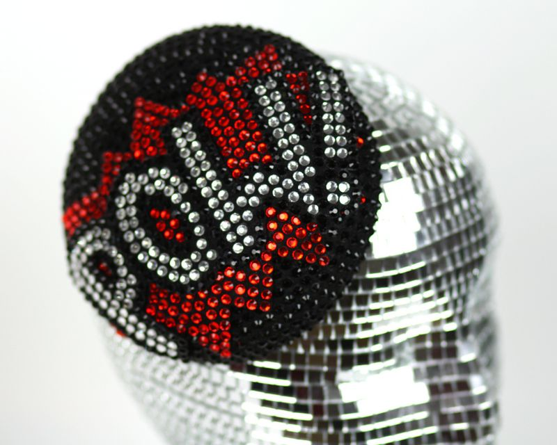 POW Pill Box Cocktail Hat, Races Hat, Rhinestones, Black, Red, Crystal - product images  of