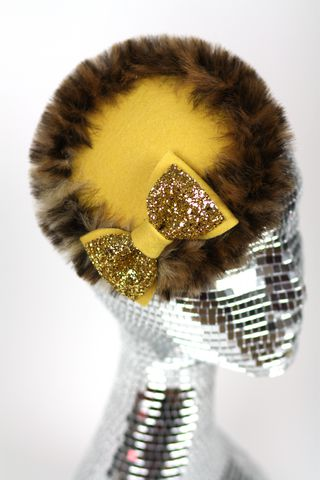 Fake,Fur,Winter,Wedding,Hat,with,Glitter,Bow,,Various,Colours