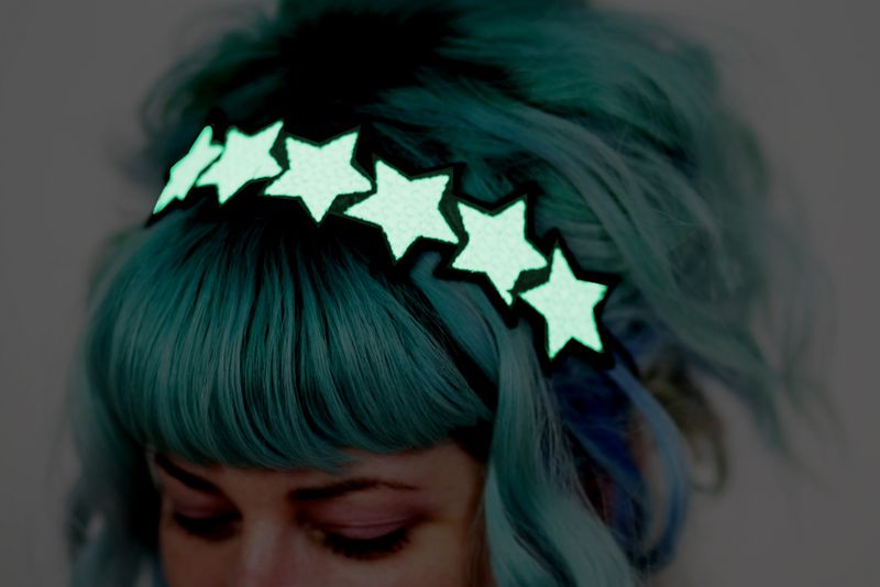 Glow in the dark Stars Headband, White, Green Glow, UV Reactive - product images  of