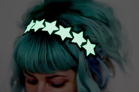 Glow,in,the,dark,Stars,Headband,,White,,Green,Glow,,UV,Reactive