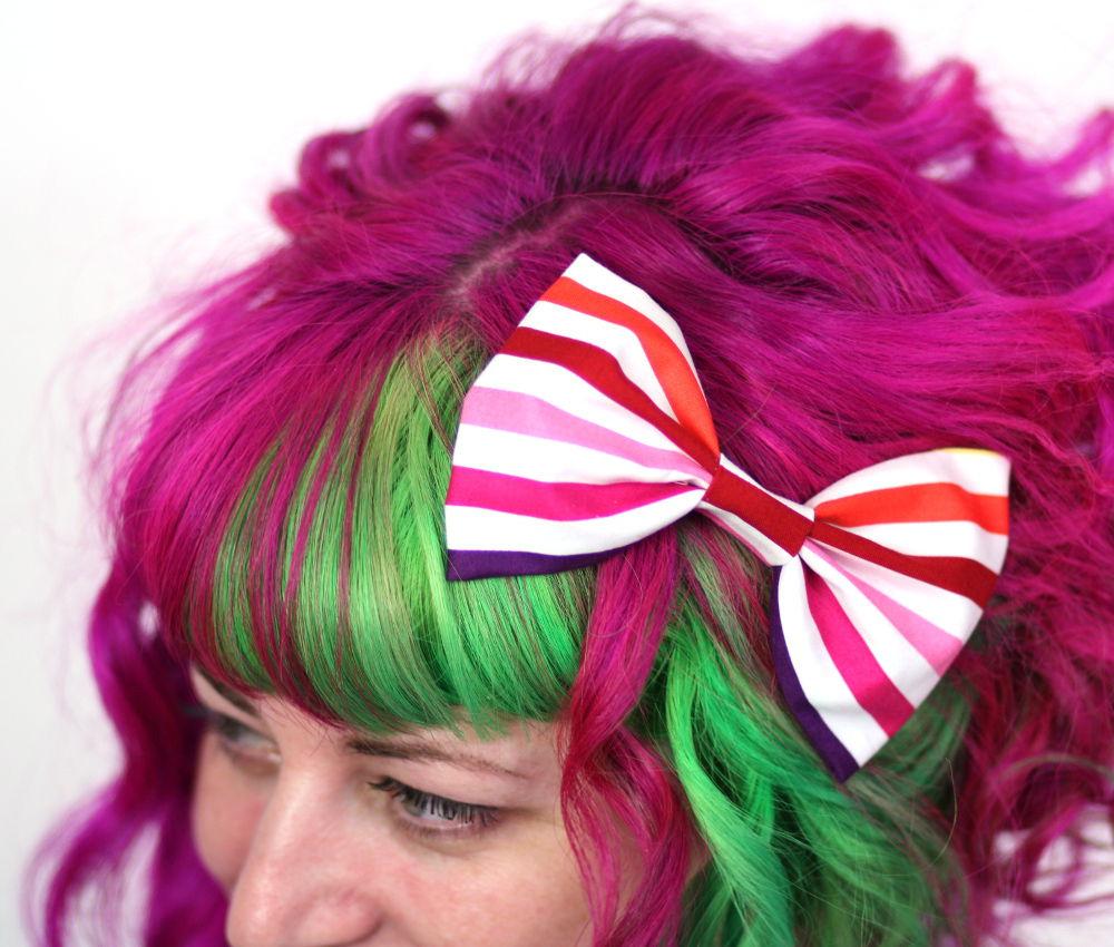 Purple Stripes in Hair Striped Hair Bow Cotton