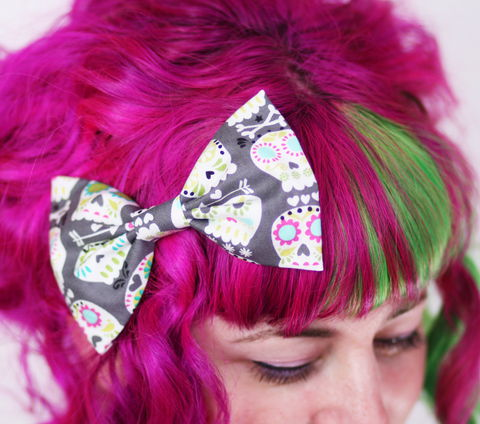 Sugar,Skull,Hair,Bow,,Grey,Day,of,the,Dead,Print,Hair Bow, hair clip, spots, polka dots
