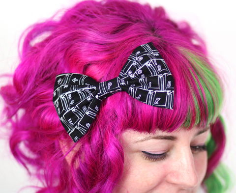 Black,Keyboard,Print,Hair,Bow,,Geek,Clip,Hair Bow, hair clip, spots, polka dots