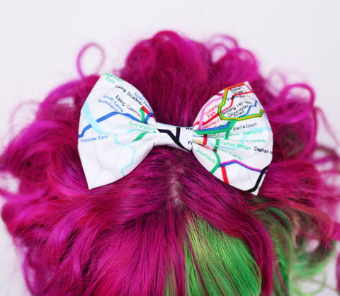 Tube,Map,Hair,Bow.,London,Underground,Print,Clip,Hair Bow, hair clip, spots, polka dots