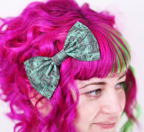 Grey,Circuit,Board,Hair,Bow,,Cyber,Print,Bow,Clip,Hair Bow, hair clip, spots, polka dots