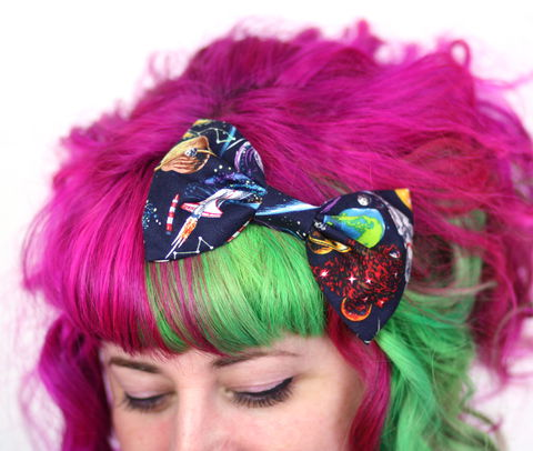 Space,Print,Hair,Bow,,Galaxy,Clip,Hair Bow, hair clip, spots, polka dots