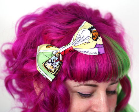 Comic,Strip,Hair,Bow,Clip,Hair Bow, hair clip, spots, polka dots