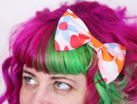 Retro,Floral,70s,Hair,Bow,,Orange,,Red,,White,,Blue,Hair Bow, hair clip, spots, polka dots