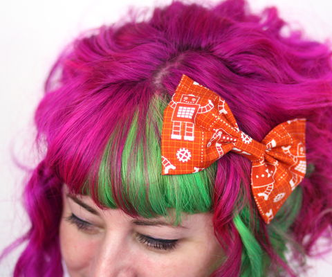 Robot,Print,Hair,Bow,Clip,,Burnt,Orange,Hair Bow, hair clip, spots, polka dots