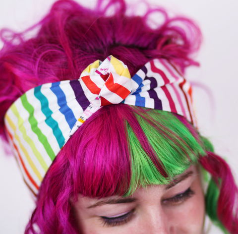 Reversible,Wired,Bow,Headband,,London,Tube,Map,with,Rainbow,Stripes,dolly bow headband, wired, tie hair band