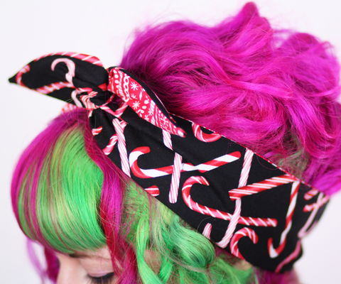 Reversible,Wired,Bow,Headband,,Candy,Cane,and,Christmas,Stripes,Prints,dolly bow headband, wired, tie hair band
