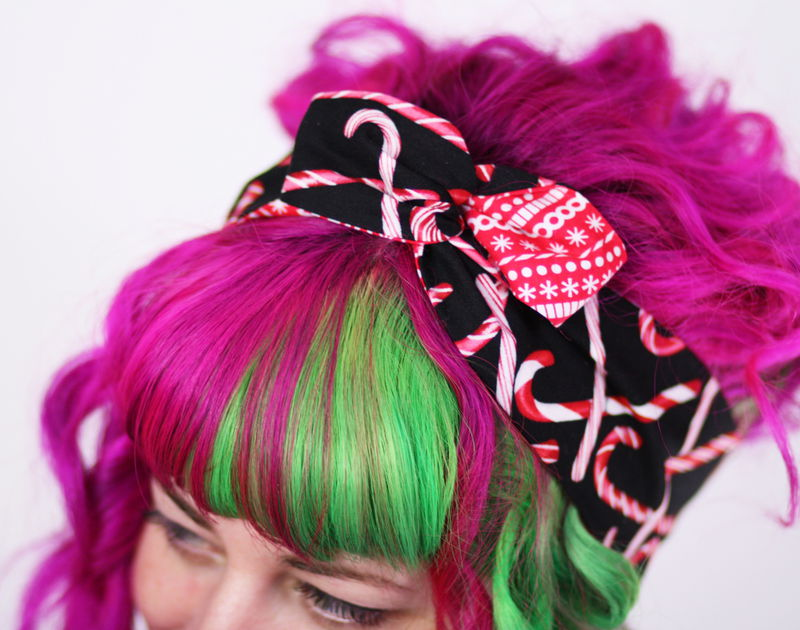 Reversible Wired Bow Headband, Candy Cane and Christmas Stripes Prints - product images  of