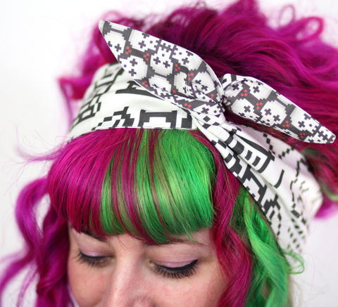 Reversible,Wired,Bow,Headband,,Pixel,Skulls,and,Doodles,dolly bow headband, wired, tie hair band